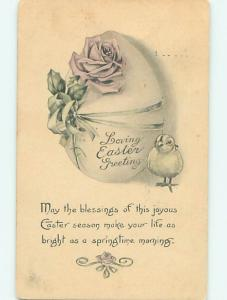 Divided-Back easter CHICK WITH PINK ROSE FLOWER ON EGG r3626