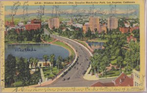LOS ANGELES CA - aerial of the divided MACARTHUR PARK by WILSHIRE Blvd 1930s