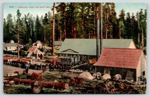 California~Lumber Camp & Saw Mill~Horses Pull Logs on Wagons~c1910
