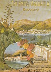 Thermes Valentia Monaco French Poster Advertising Postcard