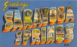 H13/ Saratoga Springs New York Postcard Linen Large Letter Greetings 12