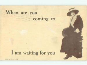 Divided-Back PRETTY WOMAN Risque Interest Postcard AA7805
