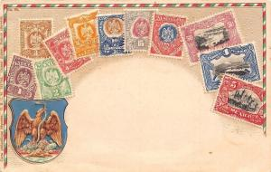 Stamps Of Mexico~Ottmar Zieher~Embossed~Eagle & Snake~1905 Postcard