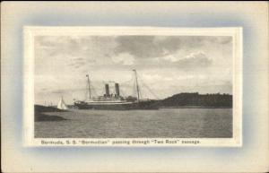 Bermuda - Steamship SS Bermudian Two Rock Passage c1910 Postcard