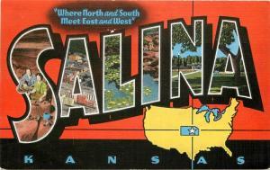 1940s Large Letter Multi View Salina Kansas Kropp Carroll linen postcard 991