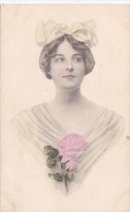 Beautiful Lady With Pink Rose