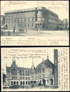 germany, 2x pc WIESBADEN, Königl. Schloss, Neue Töchterschule (1903/04) Stamps