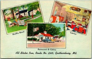 Gaithersburg, Maryland Postcard ALL STATES INN Motel Route 240 Roadside / 1953