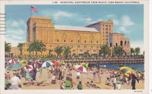 California Long Beach Municipal Auditorium From Beach 1936