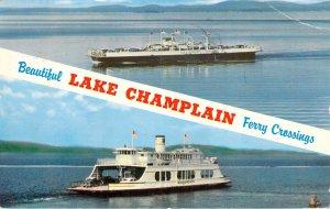 Beautiful Lake Champlain Ferry Crossings VT NY Chrome MV Valcour Postcard