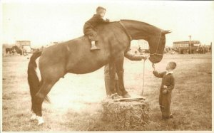 Horse Sports Kids On A Big Horse Real Photo 03.98