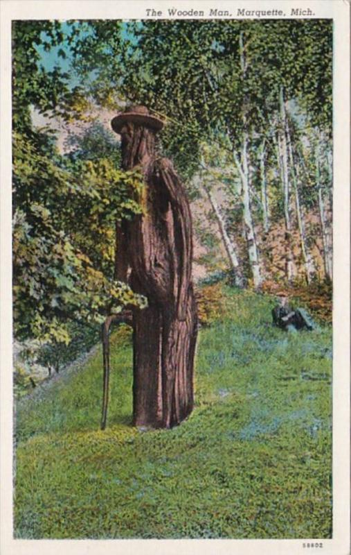 Michigan Marquette The Wooden Man Curteich
