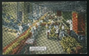 Unloading Bananas New Orleans LA E C Kropp Linen Postcard