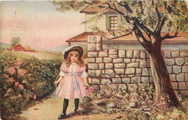 Victorian Little Girl Waits Under Tree~Stone Wall~Watching For Papa~1908 PC