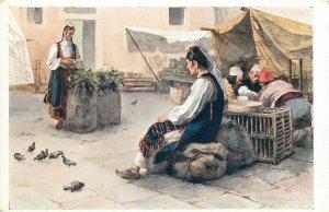 Ethnic type signed J Lalich Postcard balkan folk costumes market charcoal seller