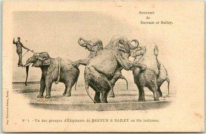 1900s French BARNUM & BAILEY CIRCUS Postcard Un des Groupe d'Elephants Unused