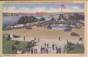 PALACE OF THE LEGION OF HONOR ...View shows cars parked around the fountain 1940