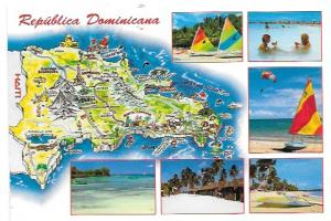 Dominican Republic.  Map & Pictures.  Great stamp.