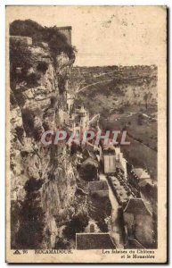 Old Postcard Rocamadour du Chateau cliffs and Monastery
