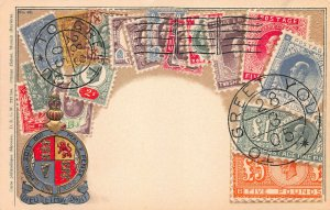 Great Britain Stamps on Early Postcard, Published by Ottmar Zieher, Bavaria