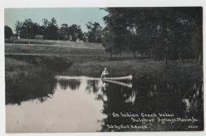 c1910 MARION Iowa Ia Postcard INDIAN CREEK below SULPHER SPRINGS Owen CANOE