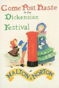 Postcard, Come Post Haste to the Dickensian Festival at Malton and Norton KM6