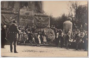 1920s? PARIS French FRANCE RPPC Postcard WWI Aux Morts Pour L Patrie Dedication?