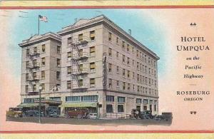 Oregon Roseburg Hotel Umpqua 1932 Curteich