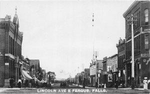 F80/ Fergus Falls Minnesota RPPC Postcard c1910 Lincoln Avenue Stores