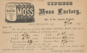 NEW ORLEANS, Louisiana, 1892 ; Cypress Moss Factory , Price Guide