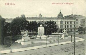 poland, WROCŁAW BRESLAU, Bismarckbrunnen am Königsplatz (1910s) Postcard
