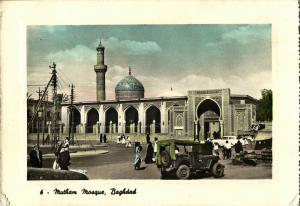 iraq, BAGHDAD BAGDAD, Mutham Mosque, Islam, Jeep (1940s) Postcard