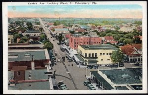 Florida ST. PETERSBURG Central Avenue looking West older cars - White Border