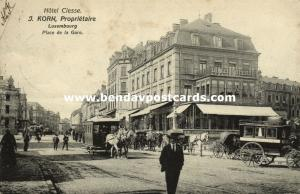 luxemburg, LUXEMBOURG, Hotel Clesse, Place de la Gare, Horse Tram (1906)