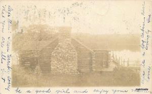1905 Jamaica New York Log Cabin RPPC Real photo postcard 6842