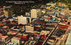 North Carolina Charlotte Aerial View Of Main Business Section Curteich
