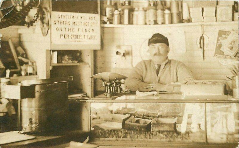 1911 East Machias Maine Store Interior Scale Owner Tobacco No spit Signage RPPC