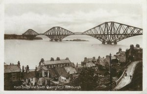 Postcard Scotland Edinburgh Forth Bridge and South Queensferry