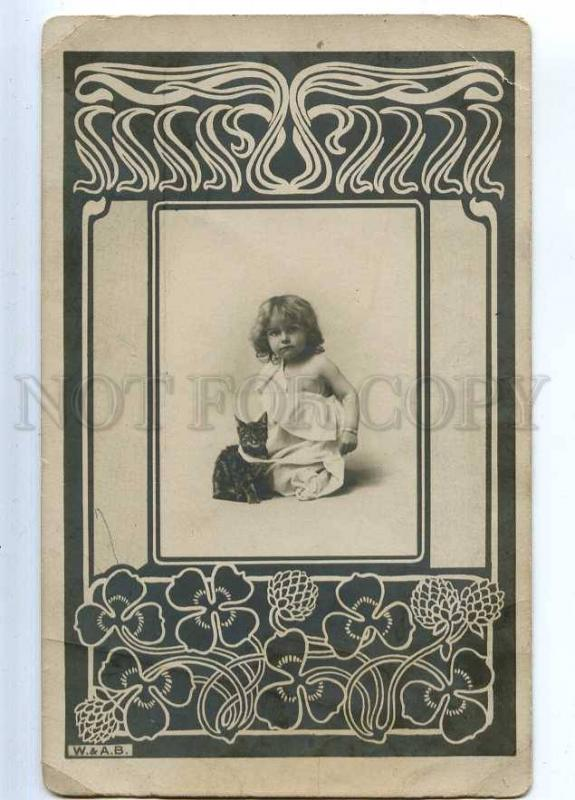 234111 ART NOUVEAU Lovely Girl & PUSSY CAT Vintage PHOTO card