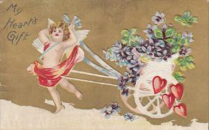 My Hearts Gift, Cupid pulling flower basket wagon, red hearts, violets, shamr...