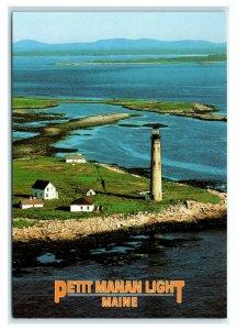 Postcard Petit Manan Light Lighthouse, Maine ME est 1817 rebuilt 1855 MS733