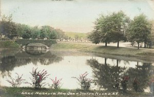 New Dorp S. I. NY Lake Moravia Hand Colored Real Photo Postcard