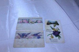 Lot of 3 Vintage Postcards Sincere Greetings is Embossed
