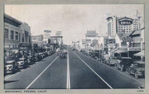 Fresno CA, California - Old Cars on Broadway - Nice Signage - pm 1945 - Roadside