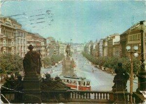 Czech Republic Prague Square Wenceslas red bus Postcard
