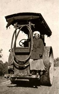 Comic - Lady on a Steamroller, Circa 1905 (Card is from 1980's)