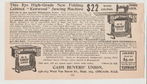 Kenwood Sewing Machine Folding Cabinet 1896 Print Ad, Chicago