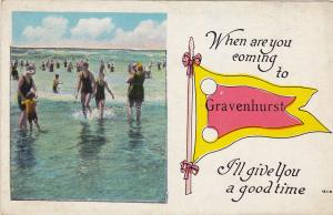 Bathing Beach, GRAVENHURST, Ontario, Canada, PU-1927