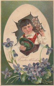 EASTER, PU-1907; Boy holding pot of flowers, Egg shell frame, PFB 6727 #2