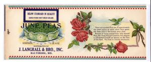 J Langrall & Bro June Peas Baltimore MD Vintage Can Label